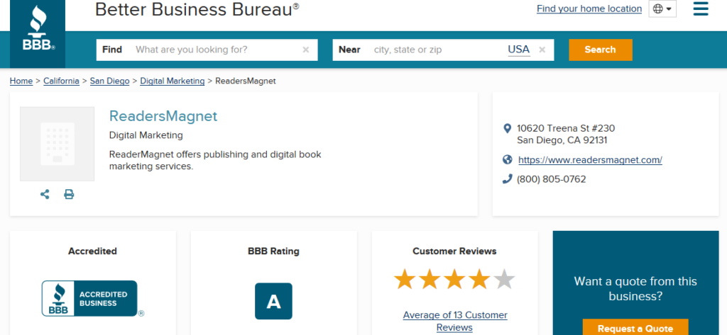 A screenshot of ReadersMagnet BBB profile with the latest BBB rating.